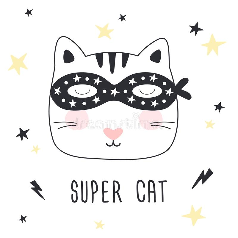 Hand drawn Super Cat. Children print. royalty free illustration
