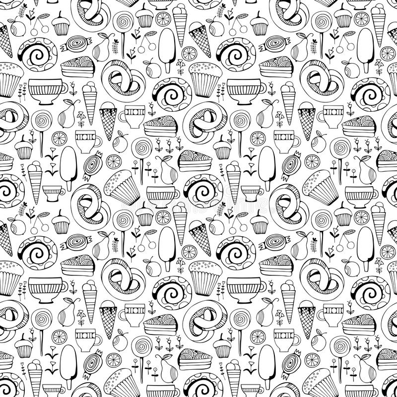 Hand drawn sweets and candies set. Monochrome Vector Seamless Pattern. Sweets and candies set. Monochrome Vector Seamless Pattern vector illustration