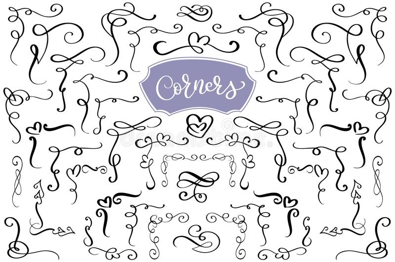 Hand drawn swirl and flourish love corners in the shape of a heart. Calligraphic design elements. Vintage Vector stock illustration