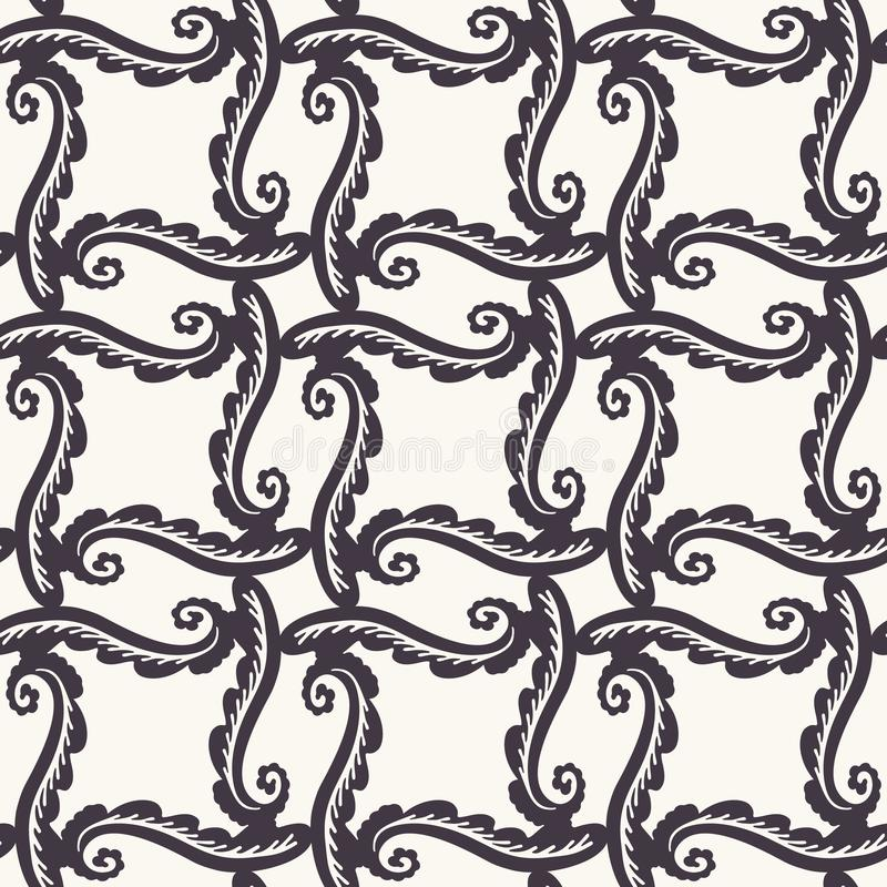 Hand Drawn Swirl Trellis Motif Seamless Pattern 华丽的阿拉伯风装饰背景 经典单色黑白 波希米亚 皇族释放例证