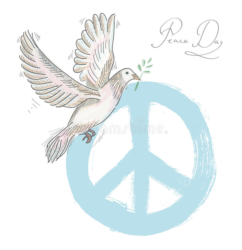 Hand Drawn Symbol Peace Dove Texture Background Eps10 File Stock