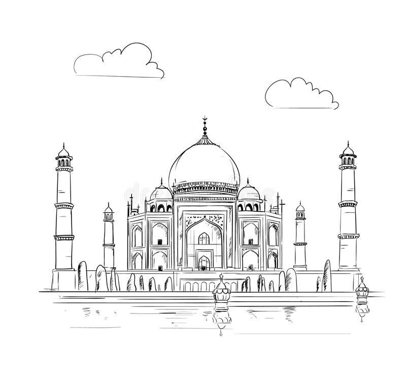 Hand drawn Taj Mahal vector illustration