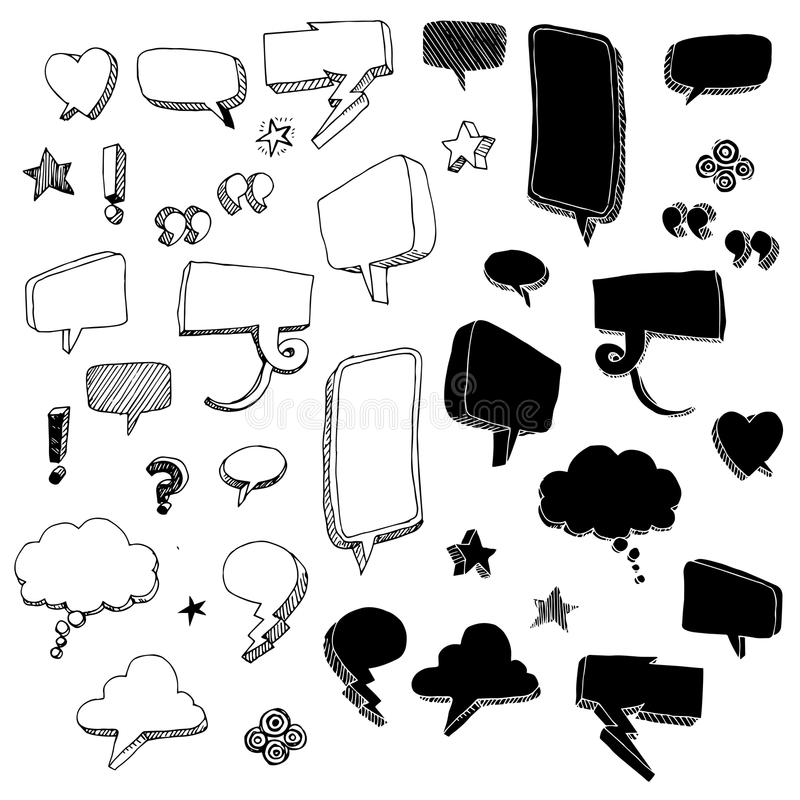 Hand-drawn Talk Bubble Doodles. A set of hand-drawn talk bubbles and other doodles vector illustration