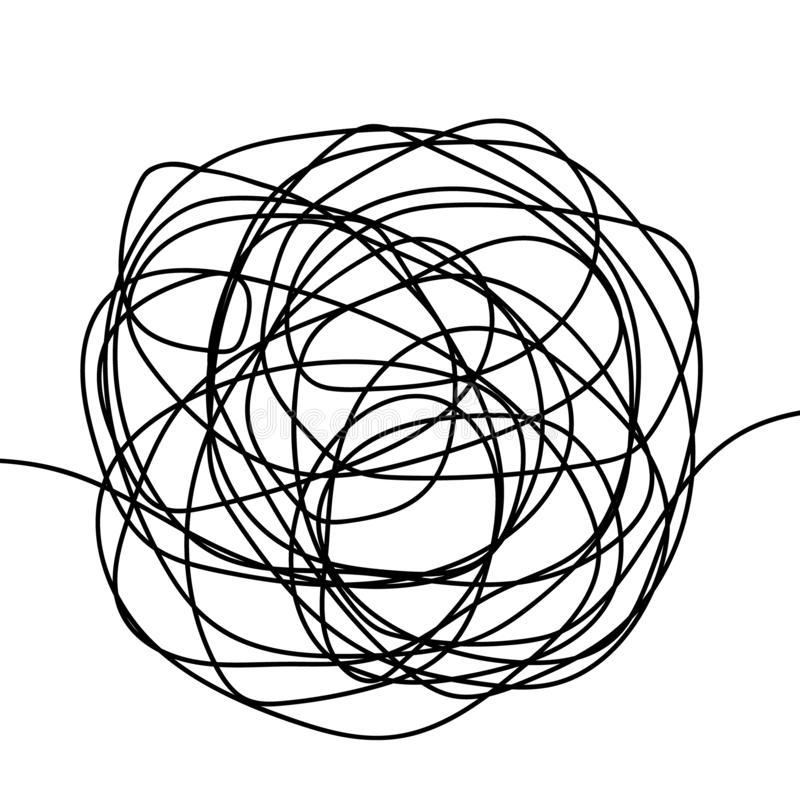 Hand drawn tangle scrawl sketch or black line spherical abstract scribble shape. Vector tangled chaotic doodle circle drawing ci royalty free illustration