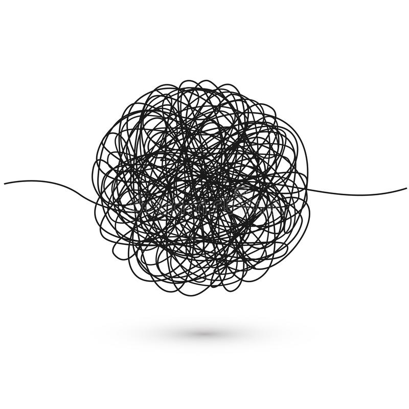Hand drawn tangle of tangled thread. Sketch spherical abstract scribble shape. Chaotic black line doodle. Vector illustration stock illustration