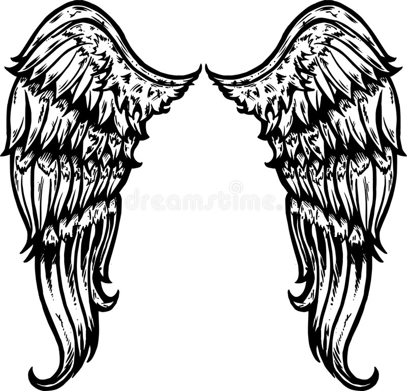Hand drawn tattoo style wings stock photography