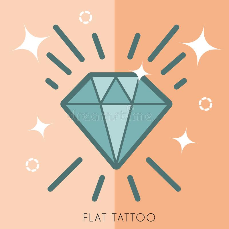 Hand drawn tattoos with shine shapes. royalty free illustration