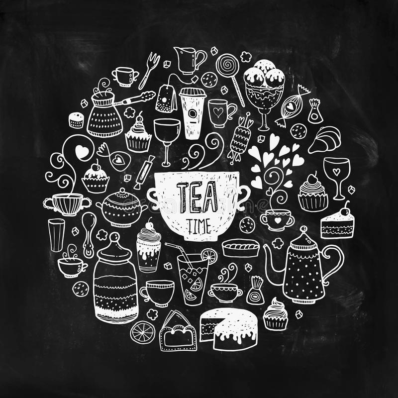 Hand drawn tea time illustration. Vector doodle set with teapots, glass, cupcake, decoration, tea, icecream, cup and sweets of a circle on chalkboard vector illustration