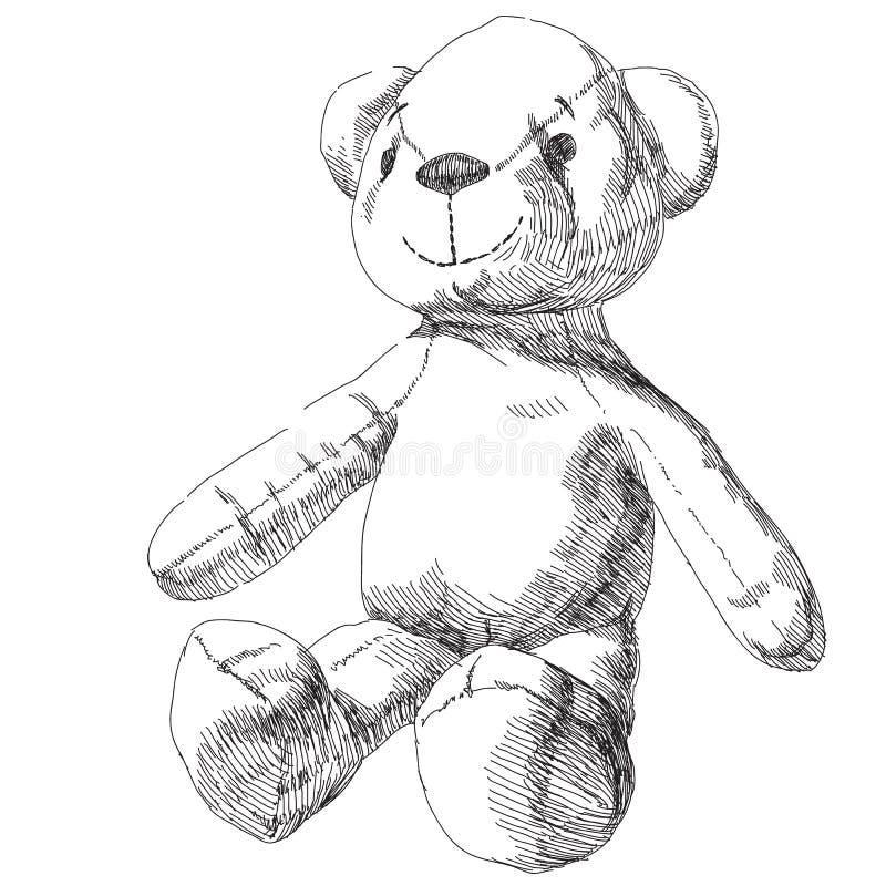 Hand drawn teddy bear stock illustration
