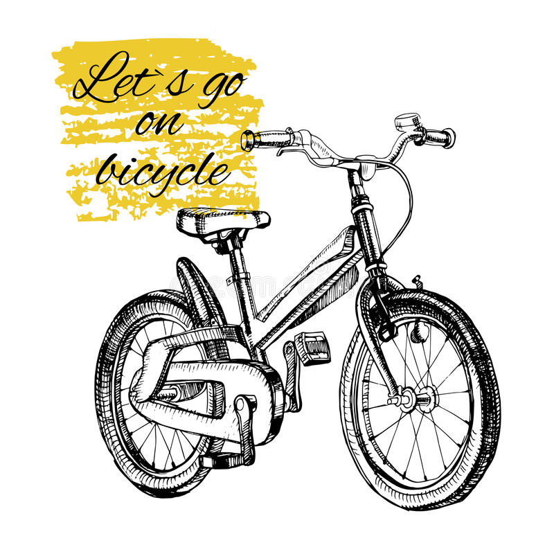 Hand drawn teenage bicycle with text. Vector illustration of hand drawn teenage bicycle with text. Singl element for design royalty free illustration