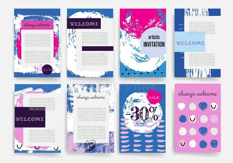 Hand Drawn Templates. Design Set of Web, Mail, Brochures. Mobile, Technology, Infographic Concept. Templates. Raw Brush Strokes. Design Set of Web, Mail royalty free illustration