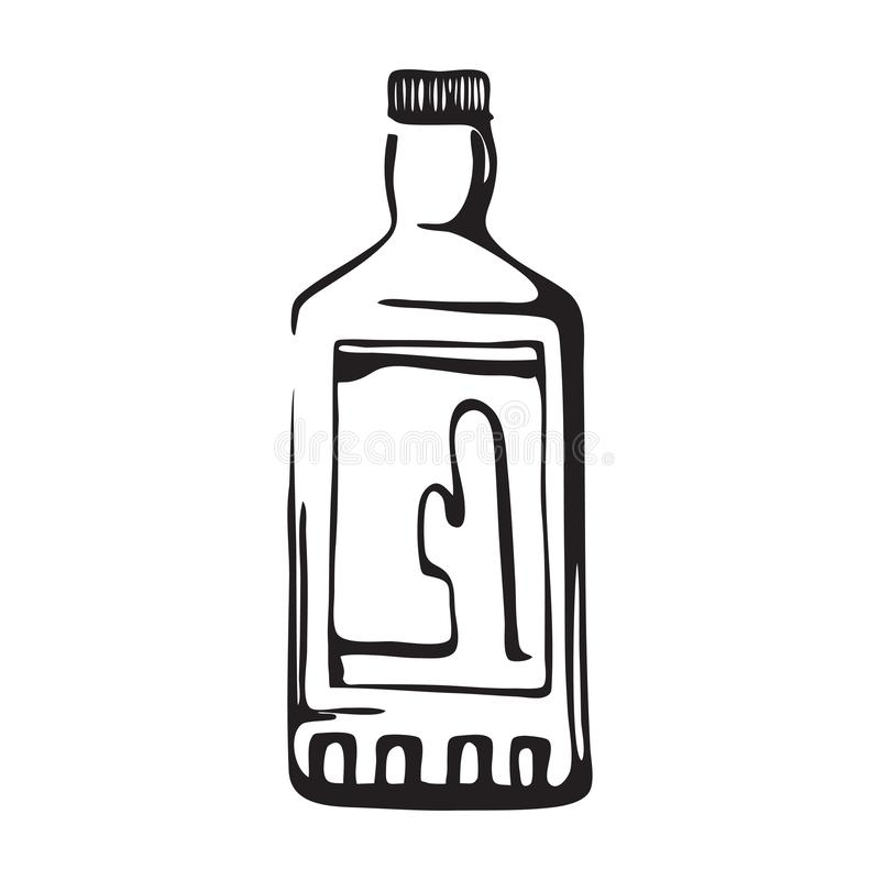 Hand drawn tequila bottle. Cactus drink flask vector illustration. Black isolated on white background royalty free illustration