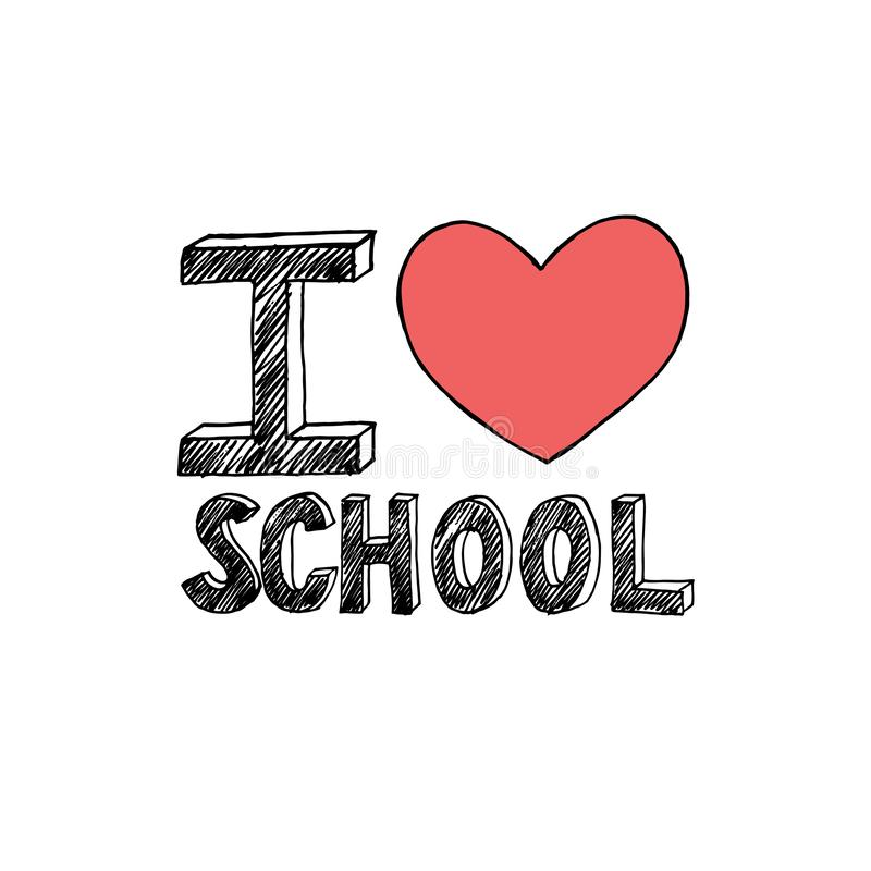 Hand drawn text I love School isolated on white background stock illustration