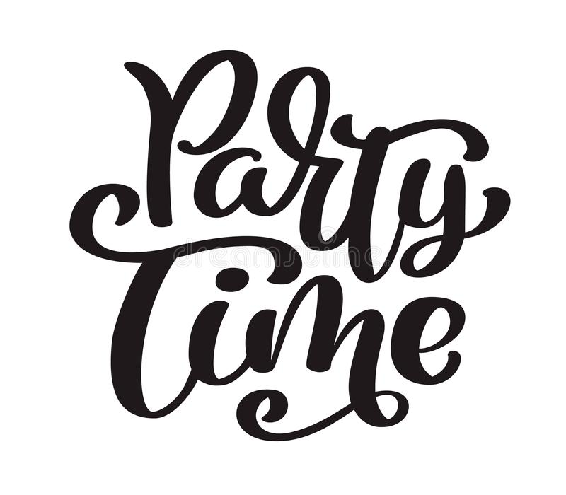 Hand drawn text Party time card. Summer lettering. Ink illustration. Modern brush calligraphy. Isolated on white vector illustration
