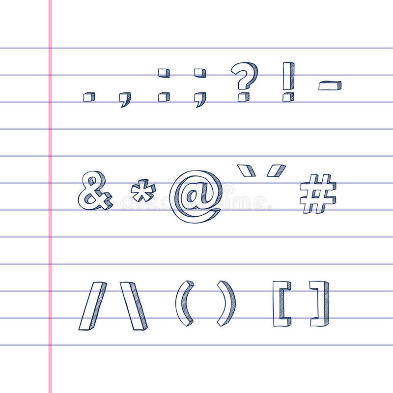 Download Hand Drawn Text Symbols On Lined Paper Royalty Free Stock Photo - Image: 27227855