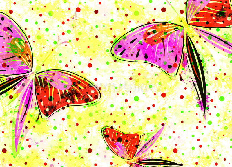 Hand drawn textured artistic background with insect. Creative wallpaper with butterflies in rainbow colors. royalty free illustration