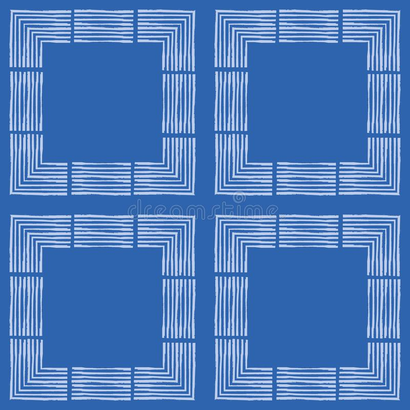Hand drawn textured brush stroke white squares in geometric design. Seamless vector pattern on blue background. Great stock illustration