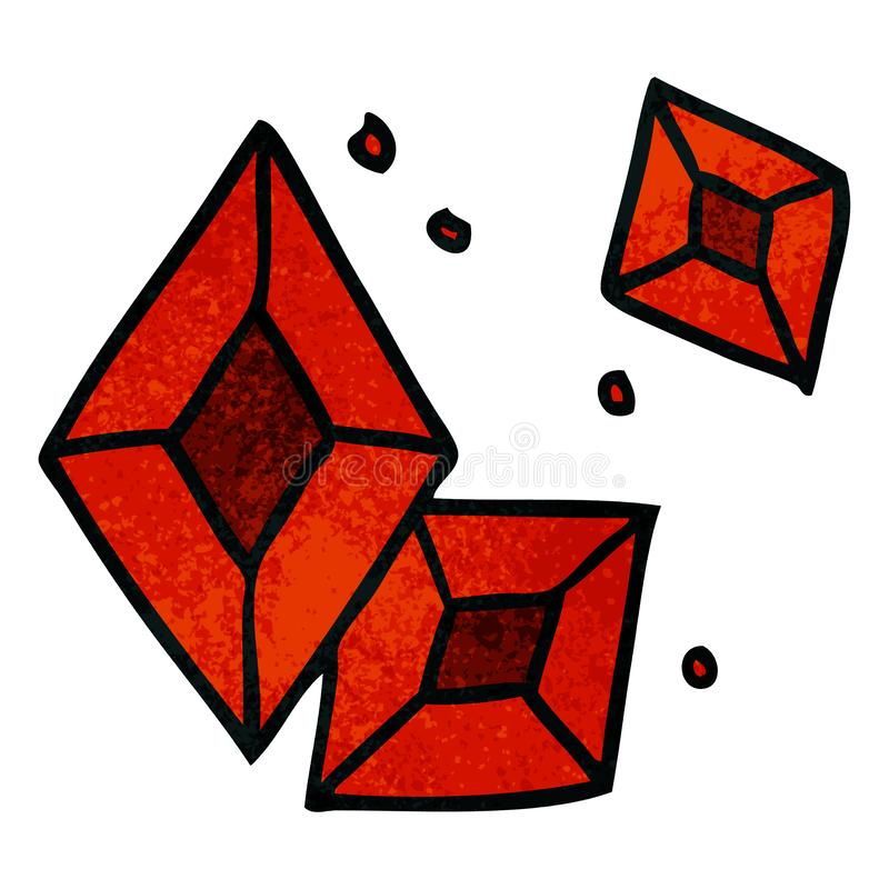 Hand drawn textured cartoon doodle of some ruby gems. A creative textured cartoon doodle of some ruby gems royalty free illustration