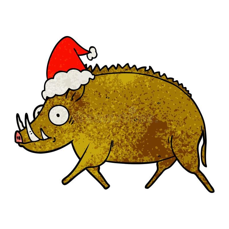 hand drawn textured cartoon of a wild boar wearing santa hat royalty free illustration