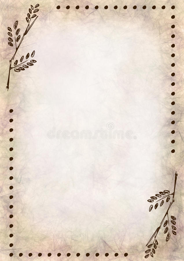 hand drawn textured floral background crumpled paper with leaves