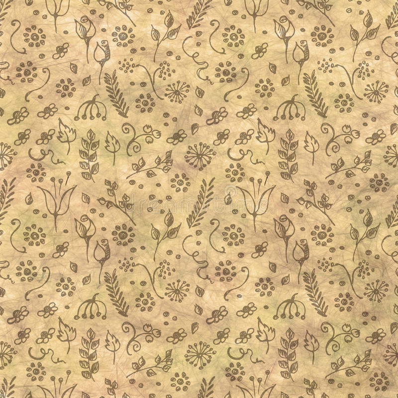 Hand drawn textured floral background.Vintage beige template with little flowers and leaves. Crumpled paper pattern. stock illustration