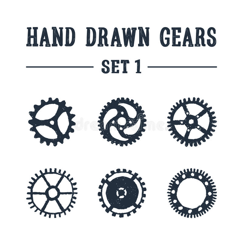 Hand drawn textured gears icons set. vector illustration