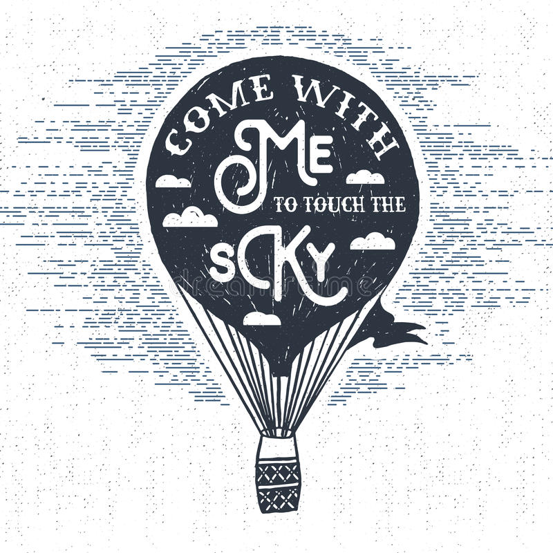 Free Hand Drawn Textured Vintage Label With Hot Air Balloon Vector Illustration. Stock Photo - 67963660