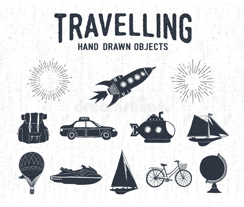 Hand drawn textured vintage travel icons set. vector illustration