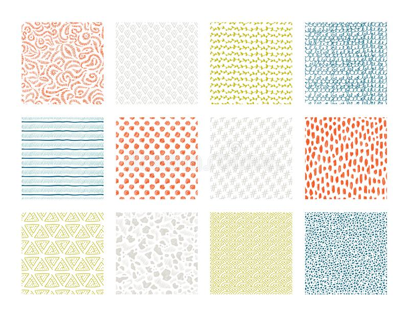 Hand drawn textures. Brush pen ink texture with abstract grunge elements, doodle scribble ethnic sketch. Vector waves royalty free illustration