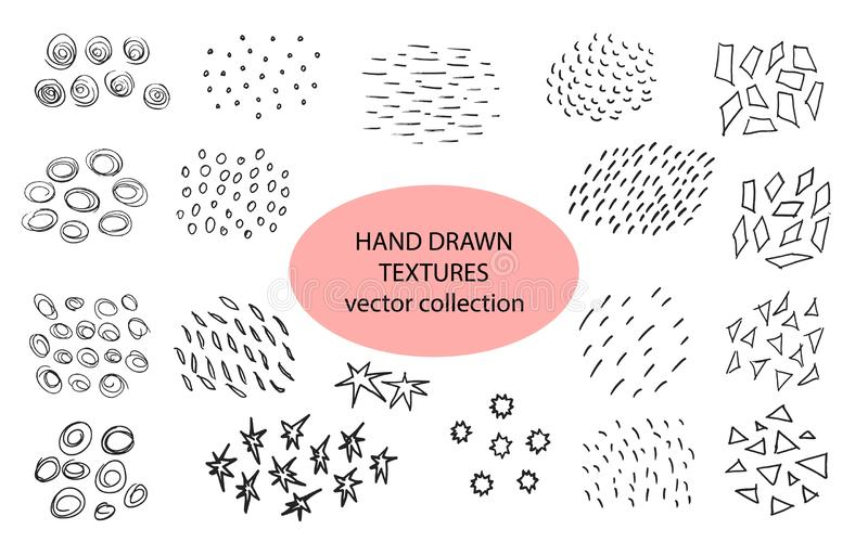 Hand drawn textures, template. Vector design elements. Set of background texture, points, strokes,circles,lines,stars. Triangles ornament in grunge style royalty free illustration