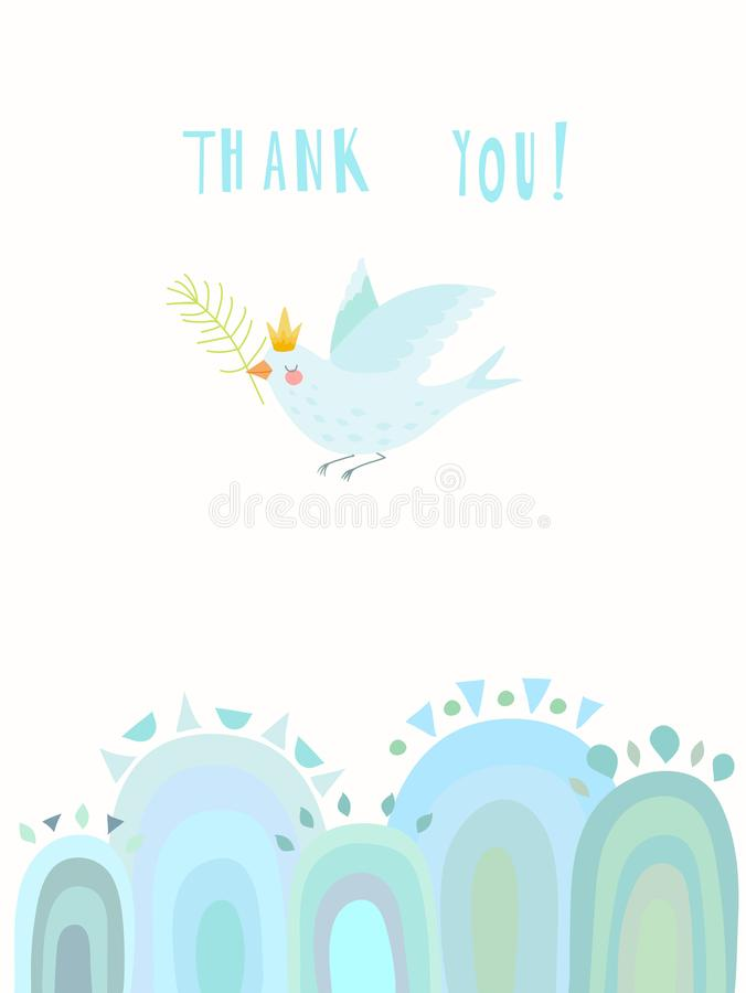 Hand drawn thank you card executed in a decorative style royalty free stock photo