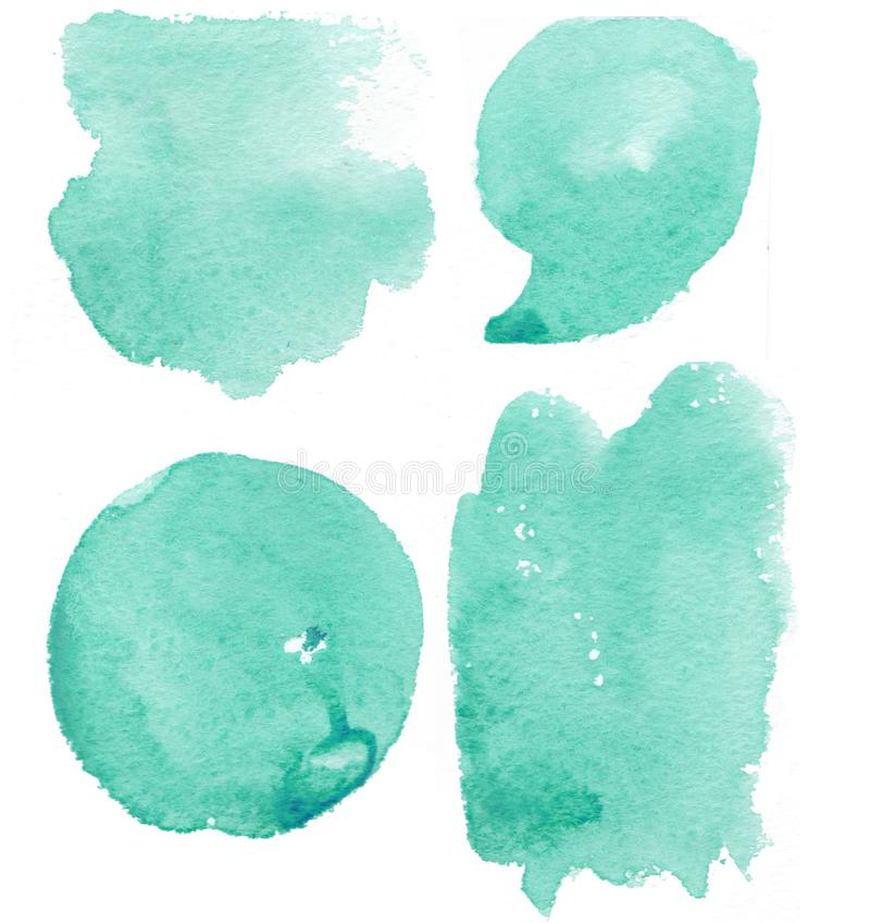 Hand drawn tiffany color splash watercolor set, splash watercolor. Tiffany splots set stock illustration