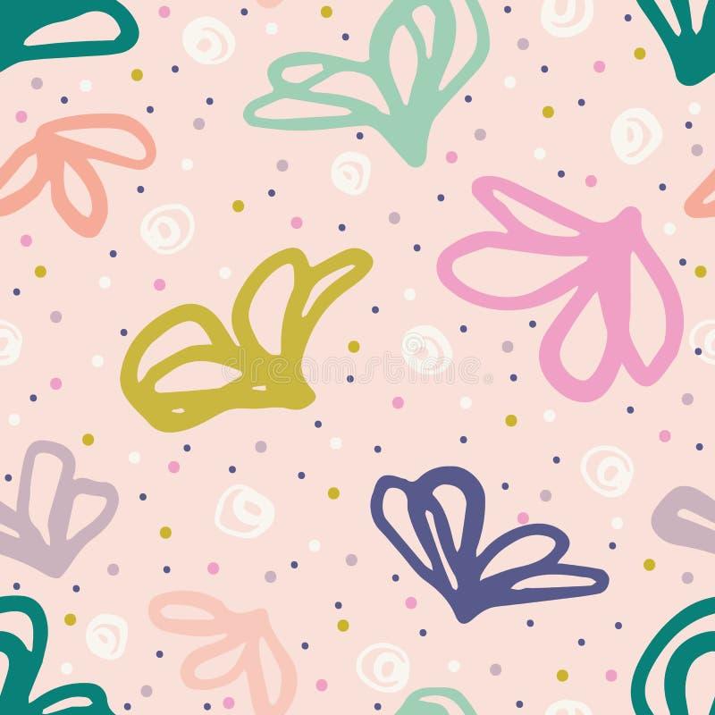 Hand drawn tossed floral pattern. Summer vector seamless background. Trendy feminine illustration. Modern polka dot, 1950s style vector illustration