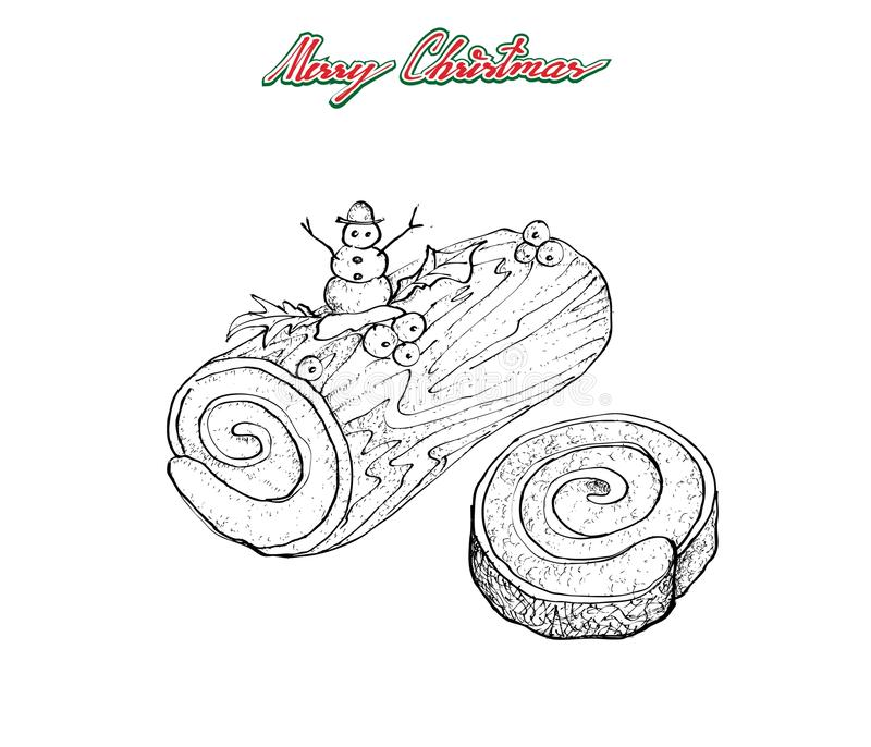 Hand Drawn of Traditional Christmas Cake or Yule Log Cake. Illustration Hand Drawn Sketch of A Traditional Christmas Cake, Yule Log Cake or Buche de Noel with stock illustration
