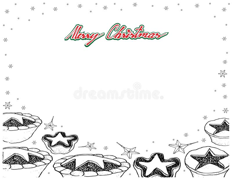 Hand Drawn of Traditional Christmas Mince Pies Frame. Illustration Frame of Hand Drawn Sketch of A Traditional Christmas Mince Pies Filled with A Mixture of vector illustration