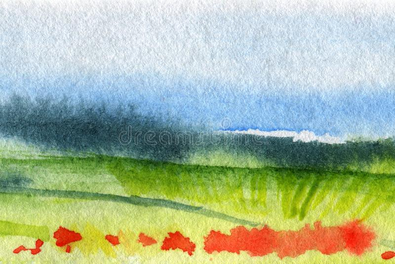 Hand Drawn Traditional Watercolor European Panoramic Landscape stock images