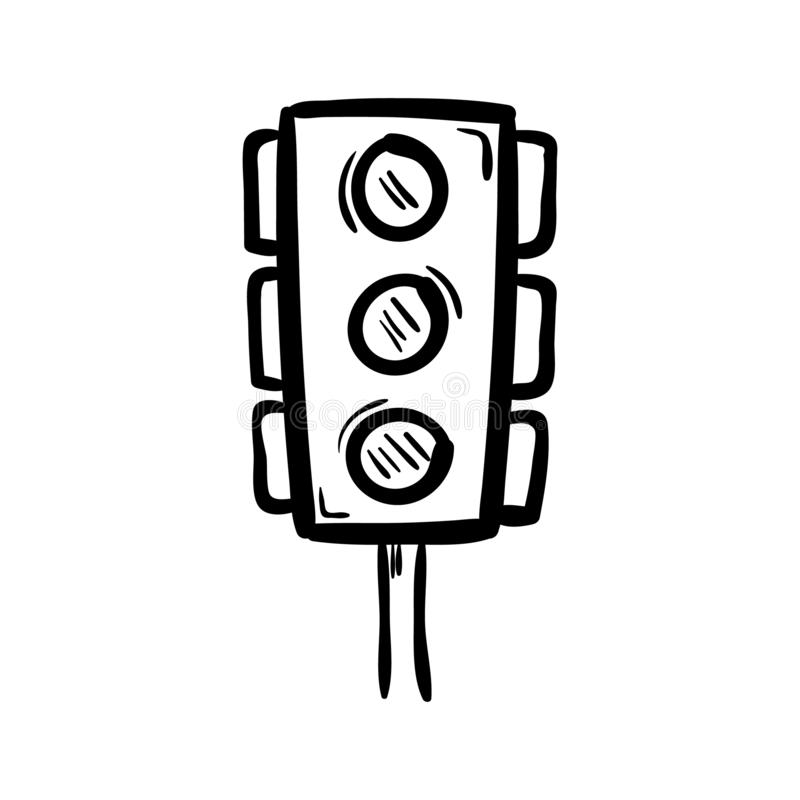Hand drawn traffic lights doodle icon. Hand drawn black sketch. Sign symbol. Decoration element. White background. Isolated. Flat vector illustration