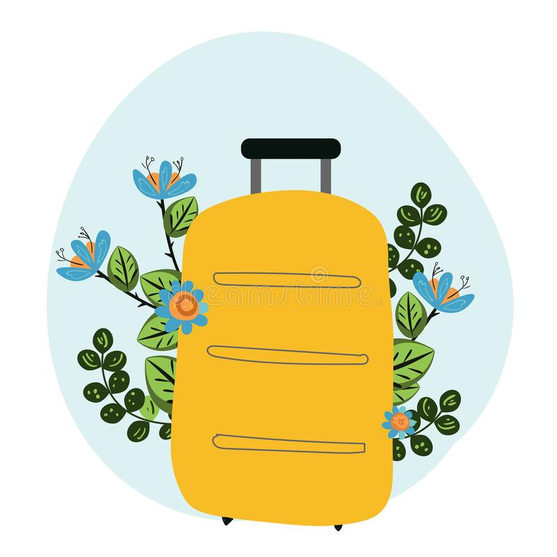 Hand drawn travel bag with flowers, vector illustration stock illustration