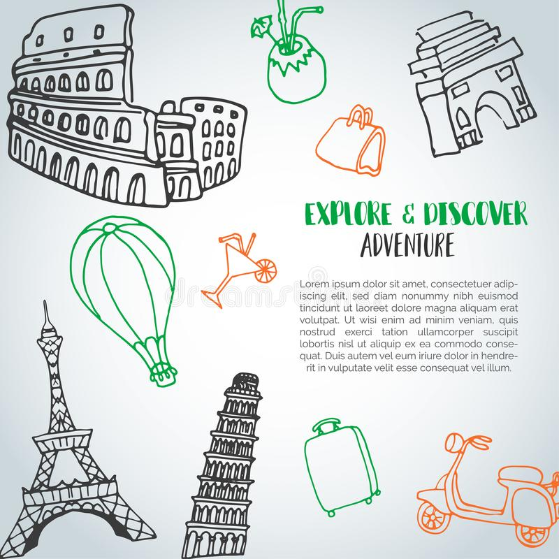 Free Hand Drawn Travel Doodle Background. Tourism And Summer Sketch With Travelling Elements: Baggage, Eiffel Tower, Beach Stock Photography - 113718352