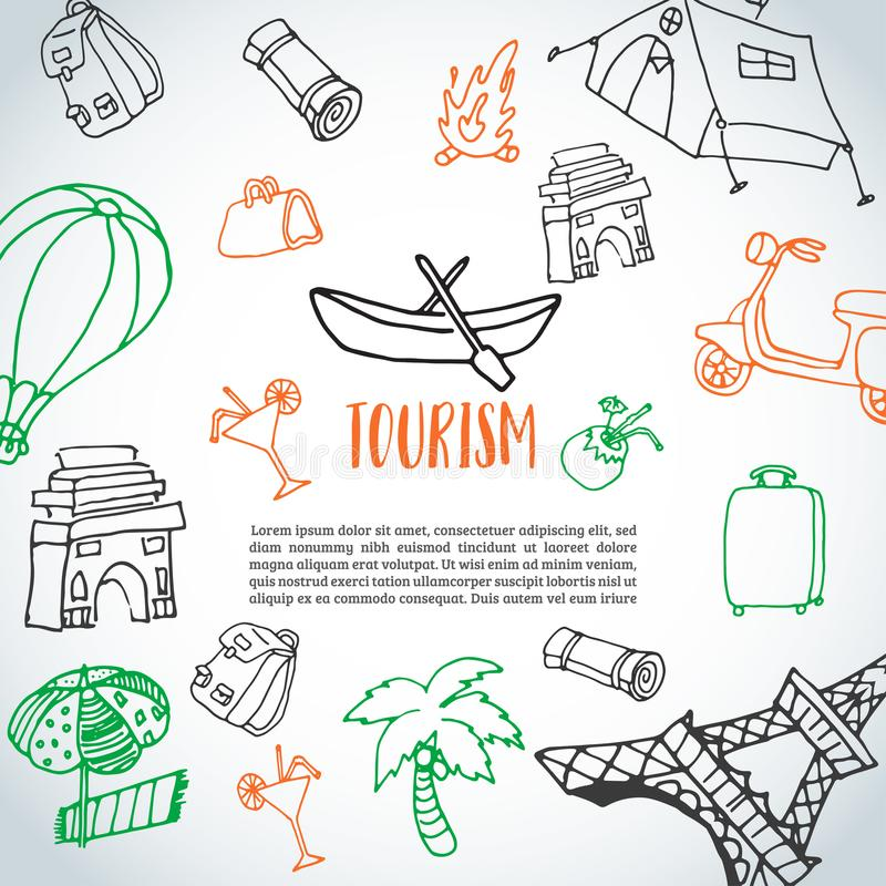 Hand drawn travel doodle background. Tourism and summer sketch with travelling elements: baggage, Eiffel Tower, beach stock illustration
