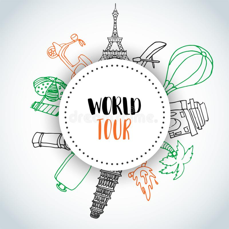 Hand drawn travel doodle background. World tour text Tourism and summer sketch with travelling elements: baggage, Eiffel royalty free illustration
