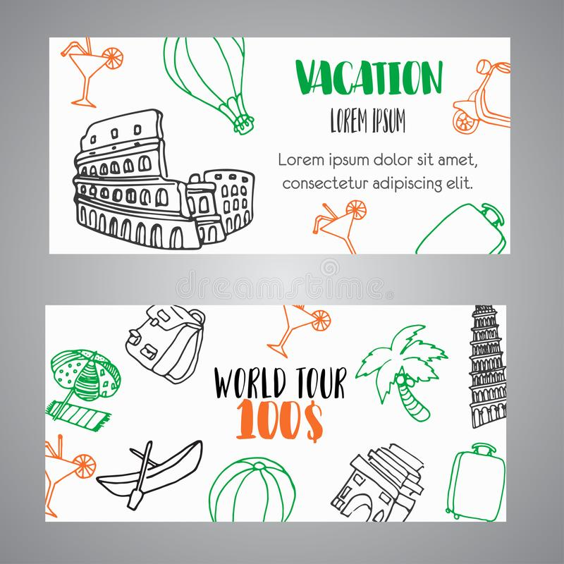 Free Hand Drawn Travel Gift Certificate Banners. Tourism And Summer Sketch Voucher With Travelling Elements Baggage, Eiffel Stock Photos - 114483123