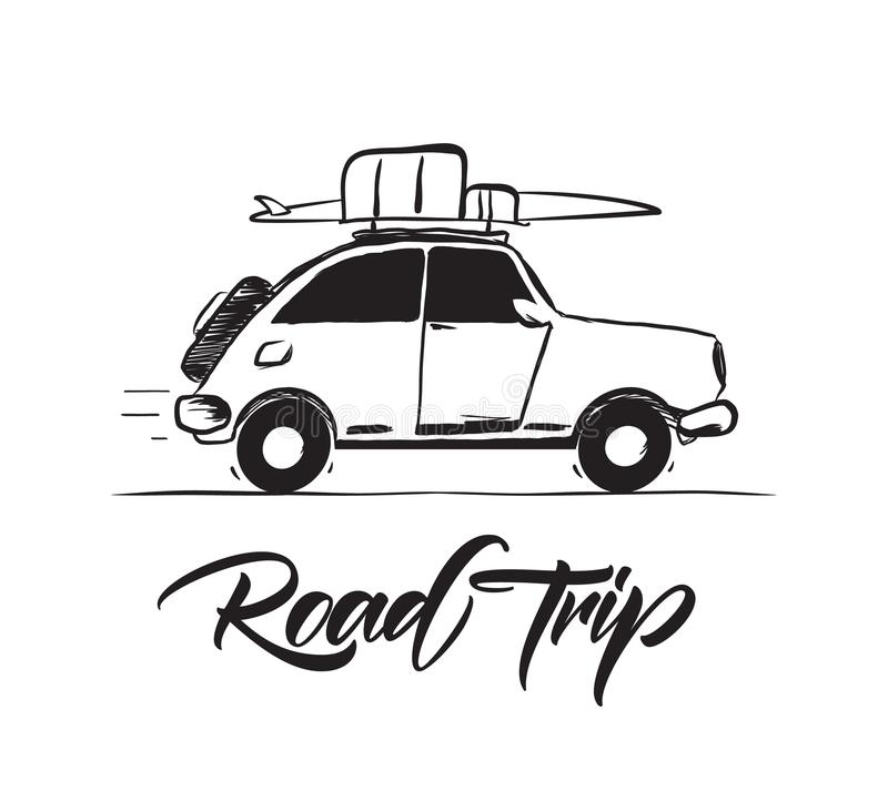 Vector illustration: Hand drawn travel retro car with baggage and surfboard on the roof. lettering of Road Trip. royalty free illustration