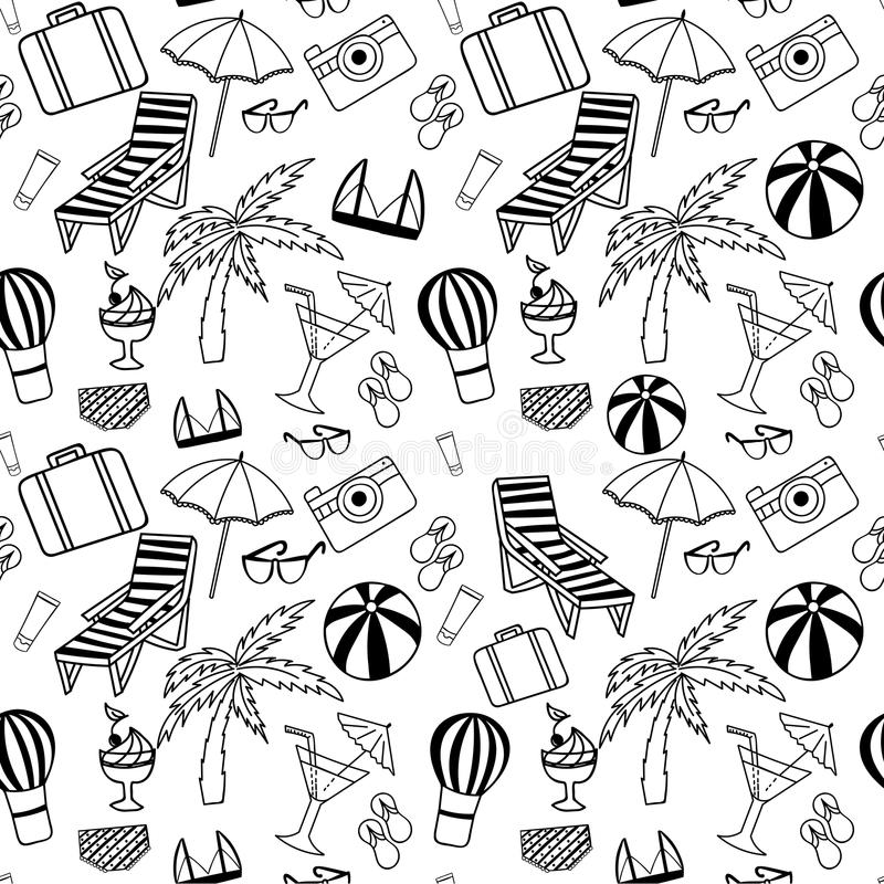 Hand Drawn Travel Seamless Pattern For Adult Coloring Pages Stock