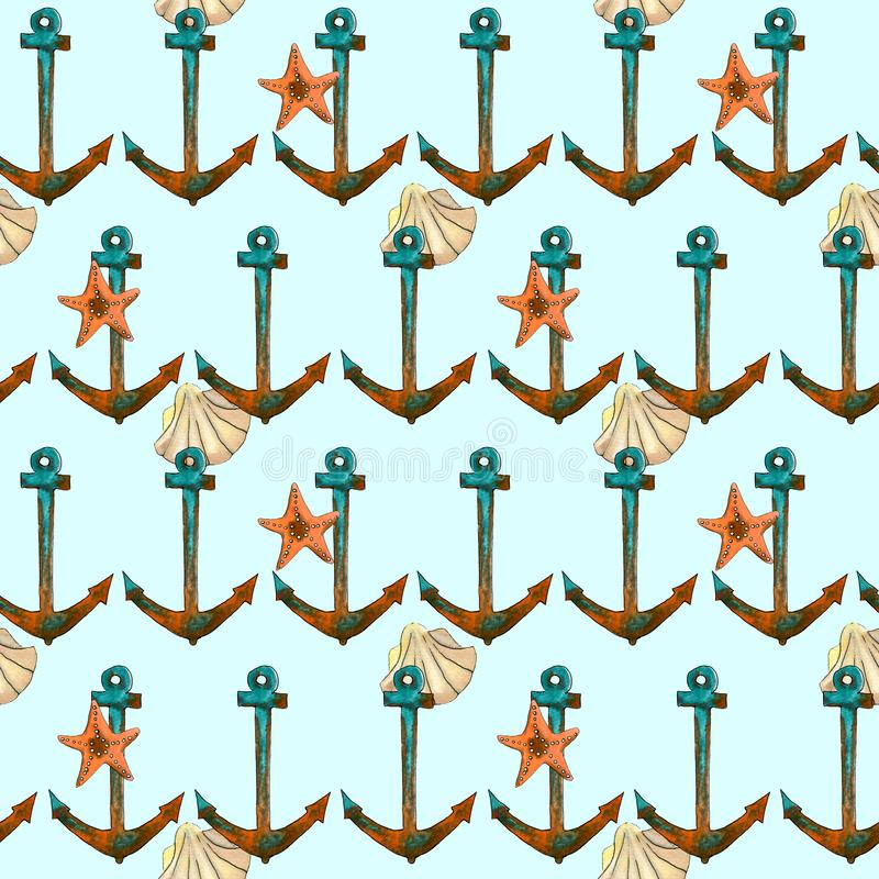 Hand drawn travel seamless pattern with anchor, sea shell, sea star royalty free illustration