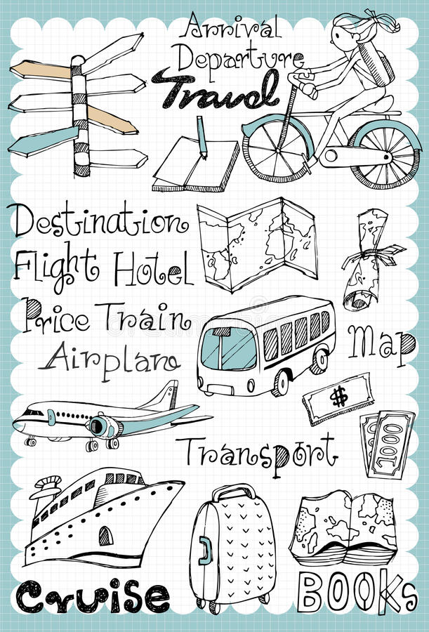 Hand drawn travel set 01 royalty free illustration