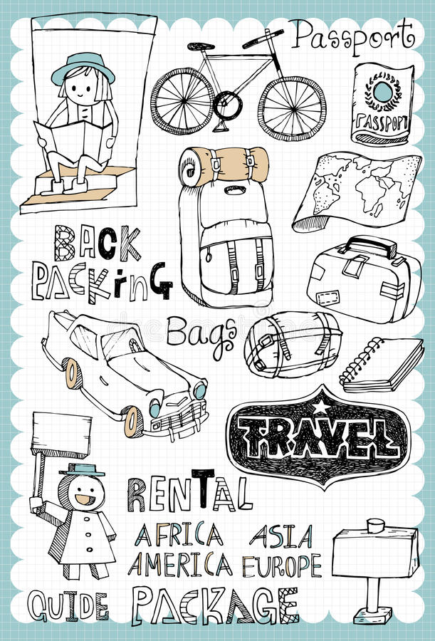 Hand drawn travel set 02 royalty free illustration