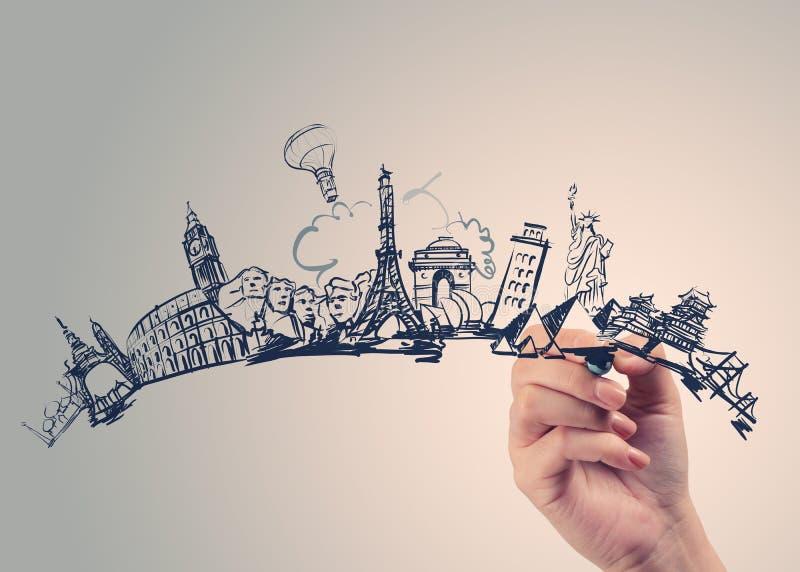 Hand drawn traveling around the world stock photo