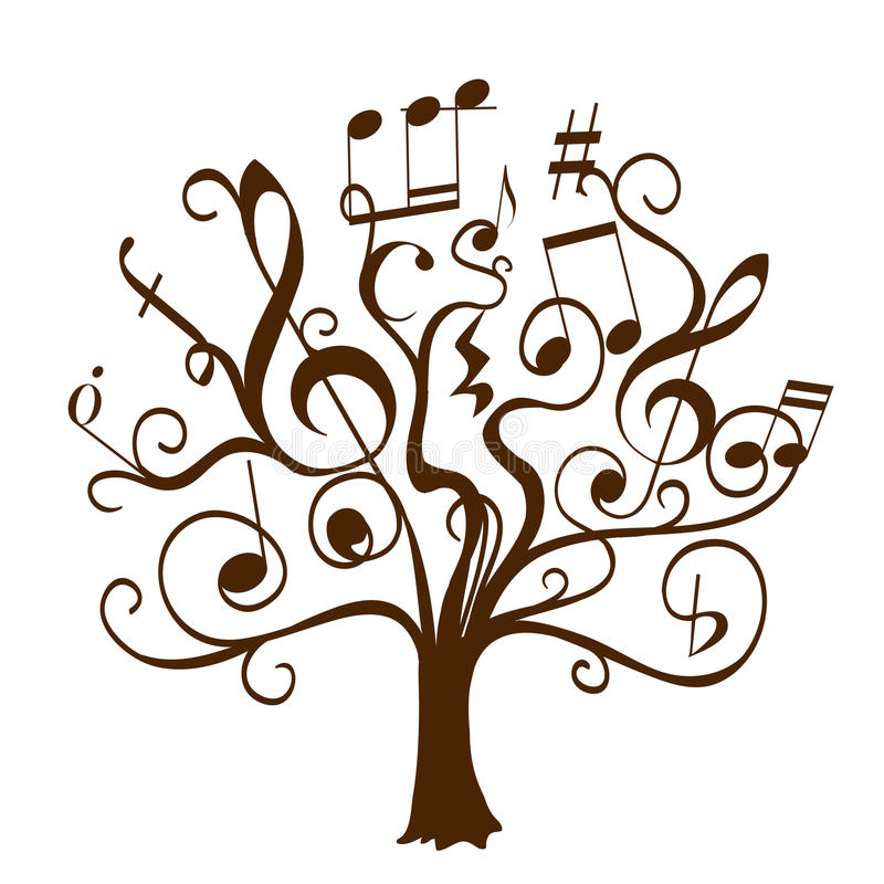 Hand drawn tree with curly twigs with musical notes and signs stock illustration