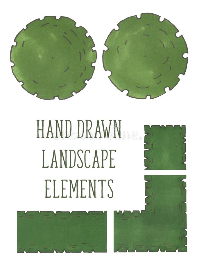 Hand drawn tree top, trees and bushes, vector stock illustration